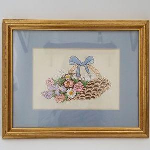 Basket Of Wildflowers Hand Made Framed Needlework
